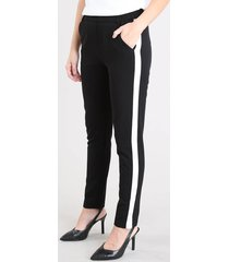 calça feminina skinny cintura alta com faixa lateral preta