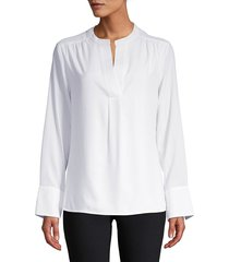 calvin klein women's woven long-sleeve top - white - size s