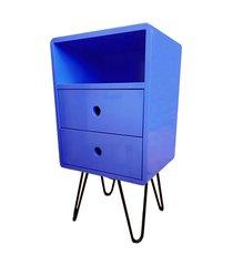 mesa de cabeceira open azul bic base ferro - 57195 azul