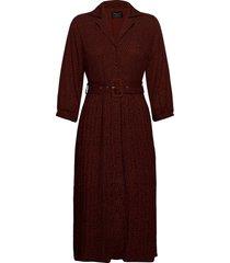 slfkinsley-oriana 3/4 midi dress b knälång klänning röd selected femme