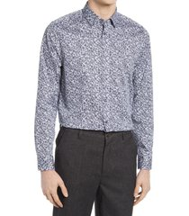 ted baker london trim fit mini floral print stretch dress shirt, size 15.5 in navy at nordstrom