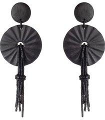 acacia wood fringe pendant clip earrings, women's, black, josie natori