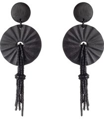 acacia wood fringe pendant clip earrings, women's, josie natori