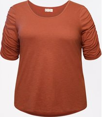 maurices plus size womens 24/7 solid rouched sleeve tee orange