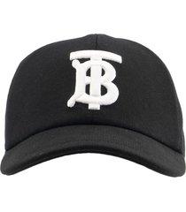 burberry monogram motif cotton jersey baseball cap black