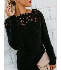 suéter de manga larga de forro polar con aplicación de encaje negro redondo cuello