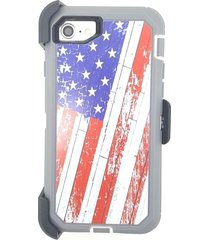 american flag defender case & belt clip (fits otterbox) for apple iphone 7 new