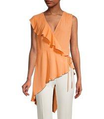 bcbgmaxazria women's asymmetrical ruffle blouse - pink - size s