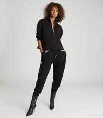reiss etta - zip neck sweatshirt in black, womens, size xl