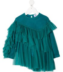 raspberry plum nira tiered tulle blouse - blue