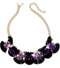 "inc gold-tone sequin, bead & multi-fringe statement necklace, 18"" + 3"" extender, created for macy's"