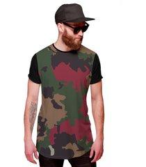 camiseta di nuevo longline camuflada exército swag preta