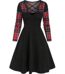checked insert criss cross mini high waist dress