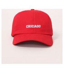 """boné masculino aba curva com bordado chicago"""" vermelho"""""""