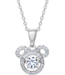 "disney cubic zirconia mickey mouse 18"" pendant necklace in sterling silver"