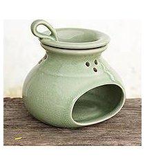 celadon ceramic oil warmer, 'in harmony' (thailand)