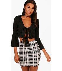 melissa monochrome check basic jersey mini skirt