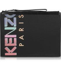 kenzo designer handbags, sport animation black nylon large pouch