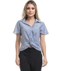 blusa clara arruda barra nó tricoline 20558 - feminino