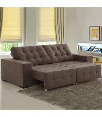 sofá 4 lugares retrátil e reclinável bahamas 8341 marrom - viero móveis
