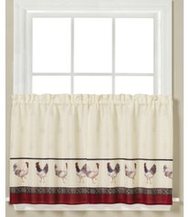 "saturday knight french country rooster-print pair of 29"" x 36"" tier curtains"