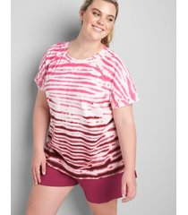 lane bryant women's livi short-sleeve sweatshirt - tie-dye 30/32 zinfandel