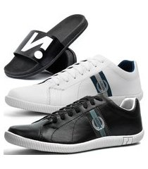 kit 2 pares de sapatênis casual dhl masculino preto e branco + chinelo slide