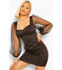 petite bodycon jurk met volle mouwen en satijnen korset detail, black