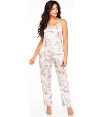 pijama mujer conjunto pant satín marfil 11403