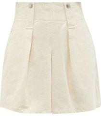 dicochia pleated cotton-twill shorts