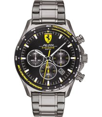 ferrari men's chronograph pilota evo gray stainless steel bracelet watch 44mm