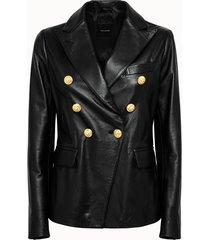tagliatore giacca lizzie in pelle nera