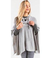 hanna lace up hooded poncho - gray