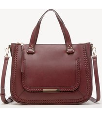 women's dayla satchel vegan leather in color: oxblood bag from sole society