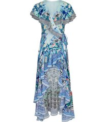 wings of luxor frill sleeve long dress