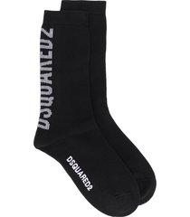 dsquared2 logo print mid-length socks - black