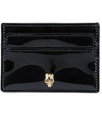 patent leather skull card holder