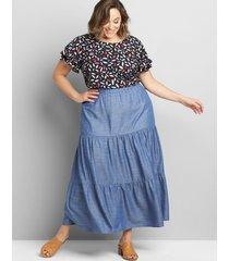 lane bryant women's chambray tiered-seam maxi skirt 22/24p chambray