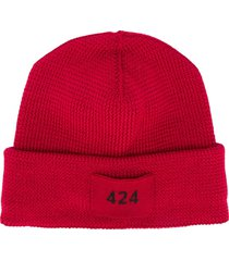 424 logo patch beanie hat - red