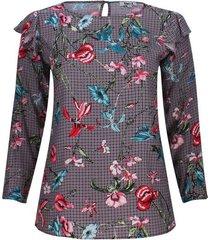 blusa estampada con arandelas color rojo, talla 16