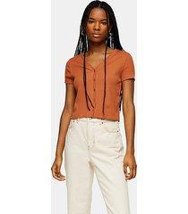 rust short sleeve button cardigan - rust