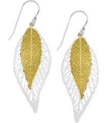 essentials two-tone double leaf drop in fine silver plate earrings