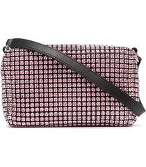 alexander wang rhinestone-embellished leather clutch - pink