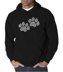 la pop art men's word art hoodie - woof paw prints