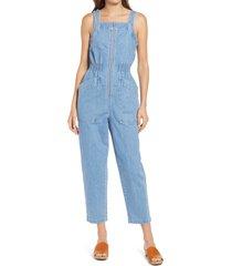 women's madewell denim smock waist zip jumpsuit, size medium - blue