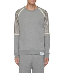 metallic nylon panel sweatshirt