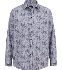 skjorta men plus vit::marinblå