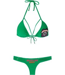 amir slama patch triangle bikini set - green