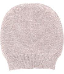 fabiana filippi round top fine knit beanie hat - grey