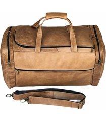 bolsa de viagem de couro - a bordo - kesck couro bege - bege - dafiti